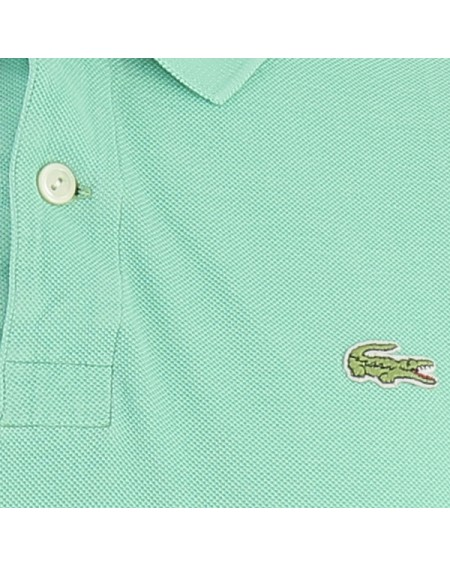 Zoom logo polo Lacoste vintage vert turquoise clair